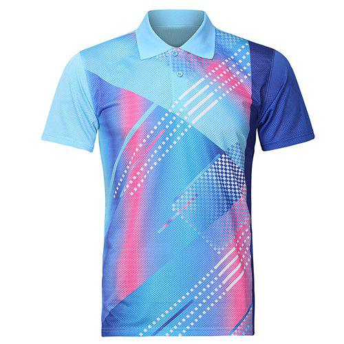 Turn Down Collar Mens Splicing Quick Dry Badminton Training T-ShirtMen<br><br><br>Size: XL<br>Color: BLUE