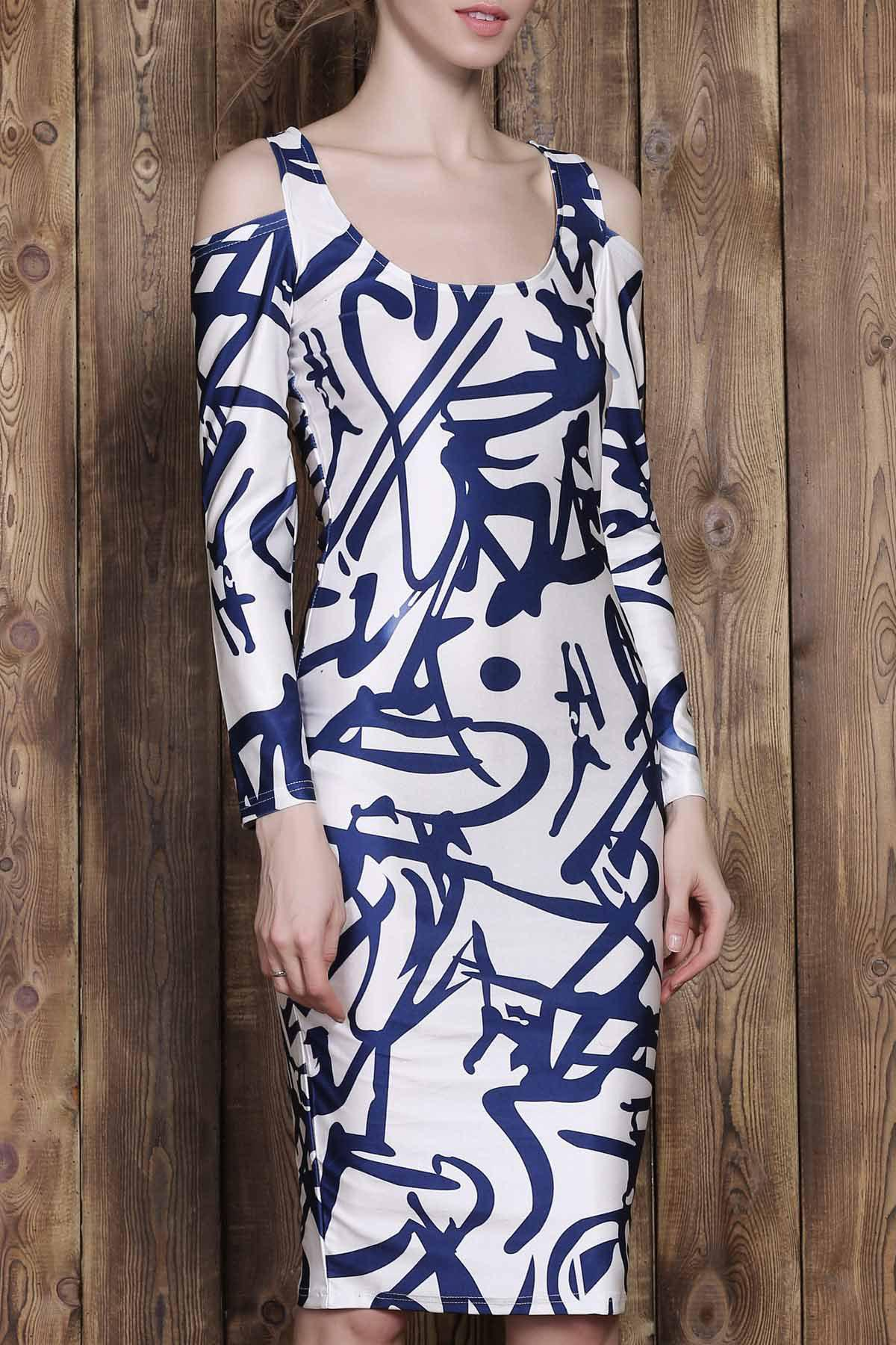 Trendy Printed U-Neck Shoulder Cut Out Long Sleeve Bodycon Dress For Women - COLORMIX S