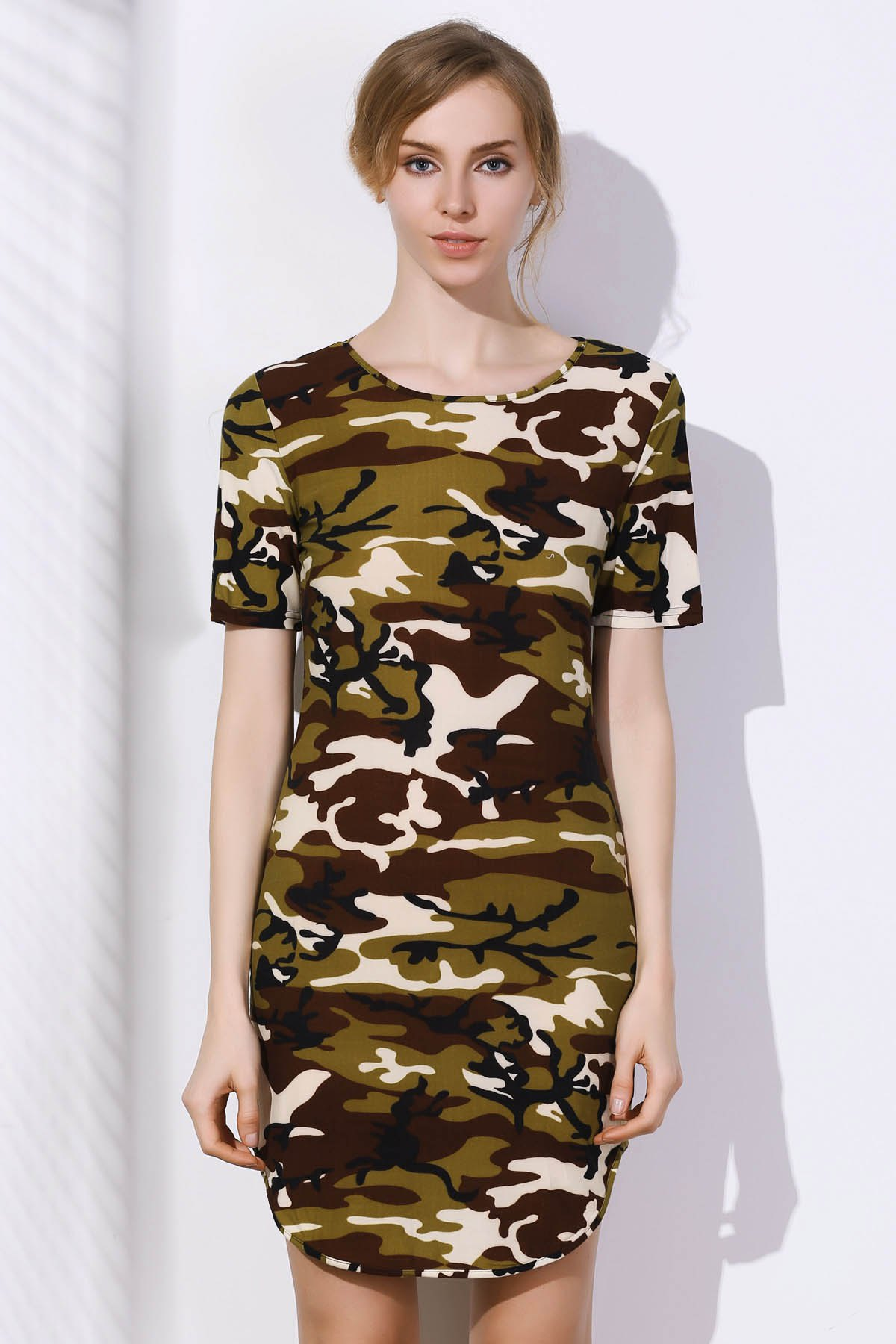 Camo Arc Hem Bodycon Mini Dress