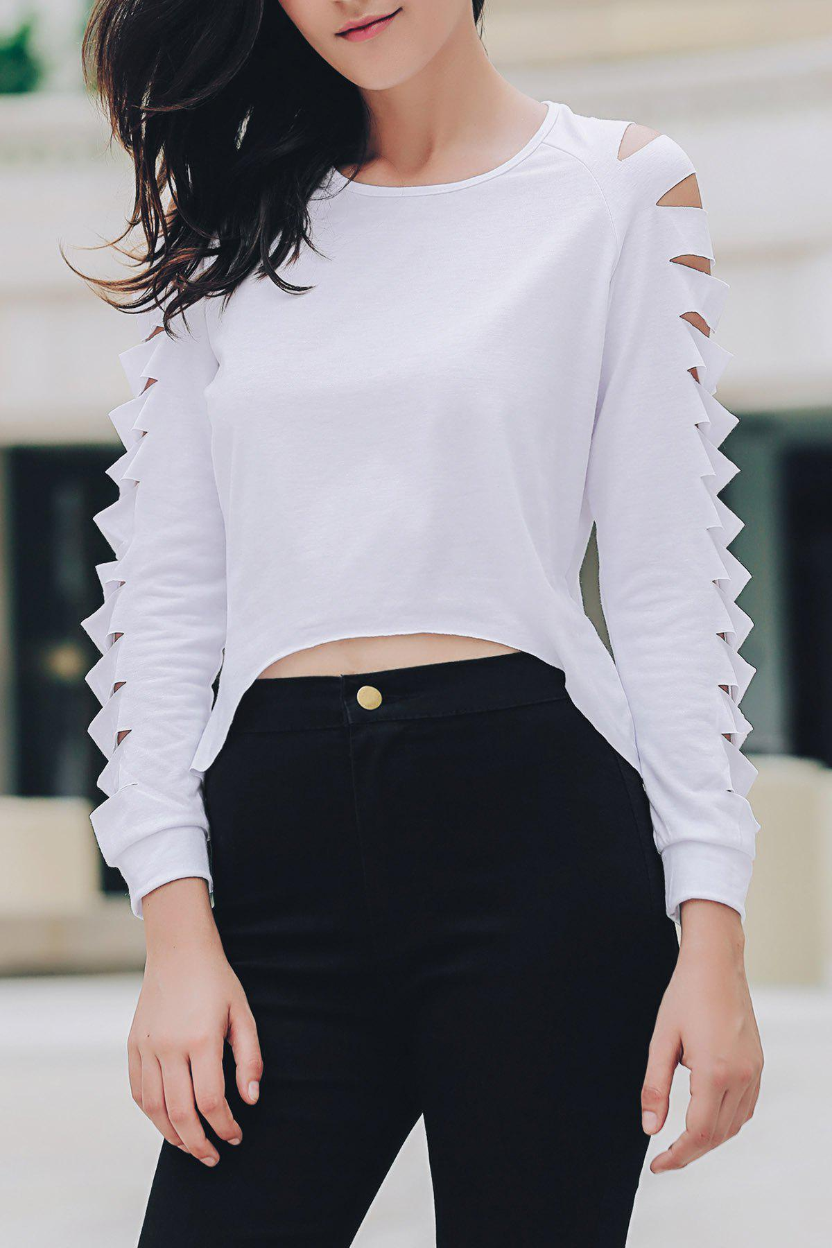 Fashionable Solid Color Long Sleeve Frayed Ripped Cropped Blouse For Women - WHITE XL