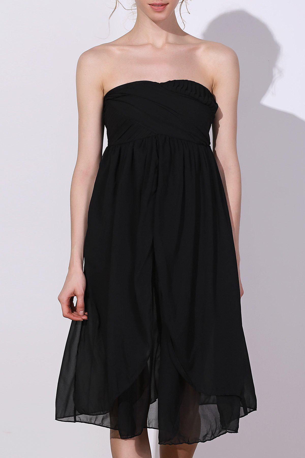Charming Women's Strapless Solid Color Ruched Dress - BLACK S