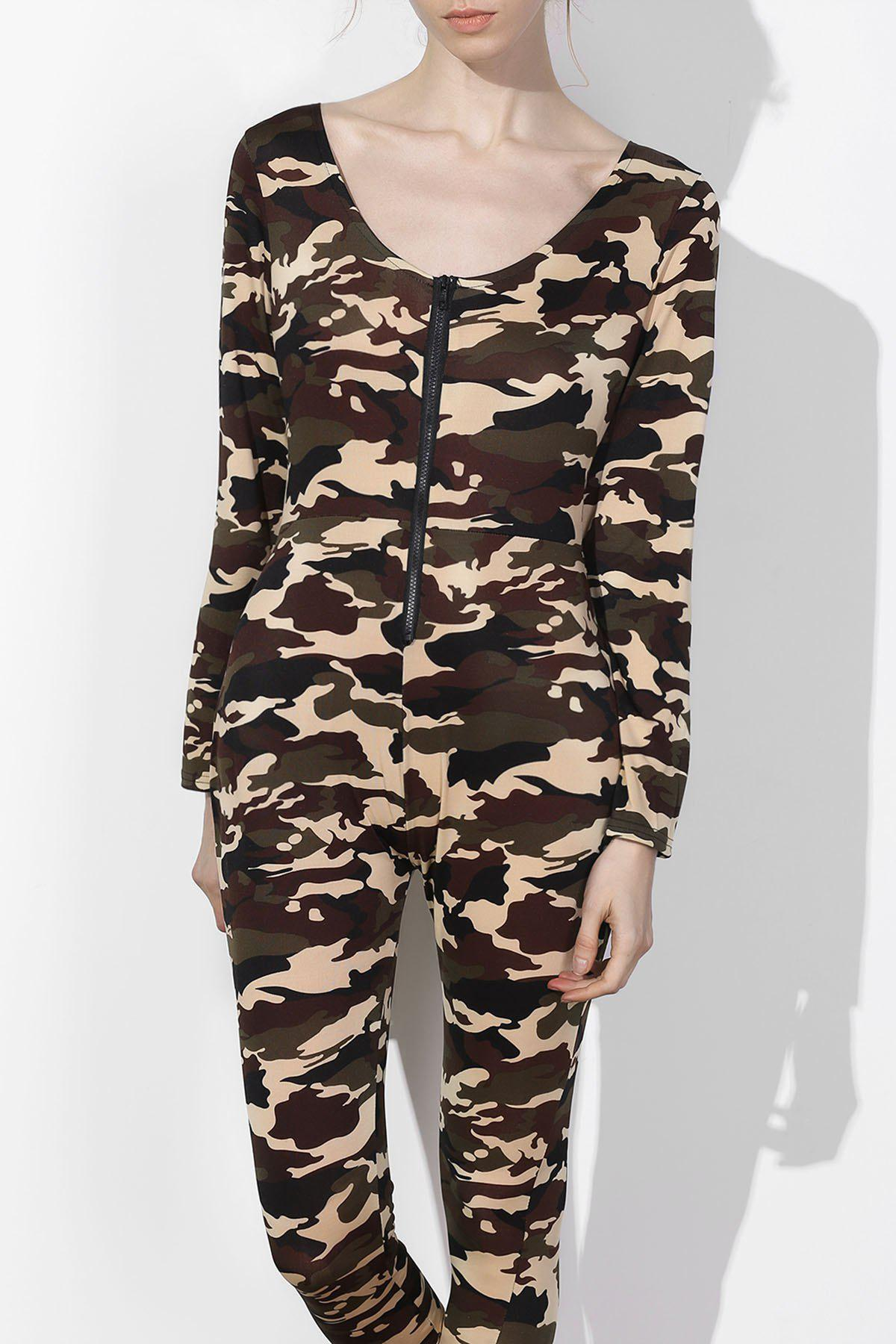 Sexy Camo Plunging Neck Long Sleeve Jumpsuit For Women plunging neck long sleeve skirted jumpsuit