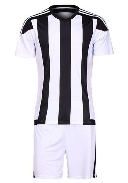 Men's Striped Sports Style Football Training Jersey Set (T-Shirt+Shorts) - WHITE/BLACK 2XL