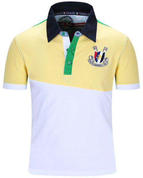 Badge Embroidered Color Block Spliced Turn-Down Collar Short Sleeve Men's Polo T-Shirt - YELLOW XL