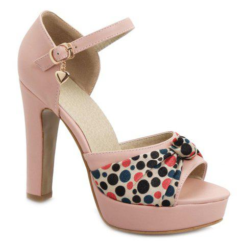 Sweet Solid Color and Bow Design Women's Sandals