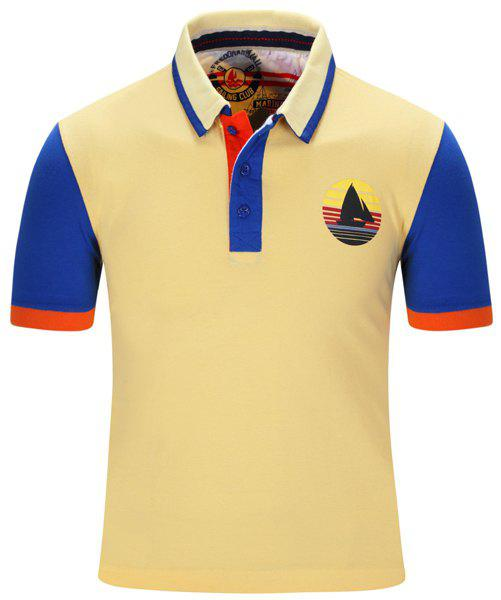 Sailing Print Color Block Stripe Turn-Down Collar Short Sleeve Men's Polo T-Shirt - YELLOW M