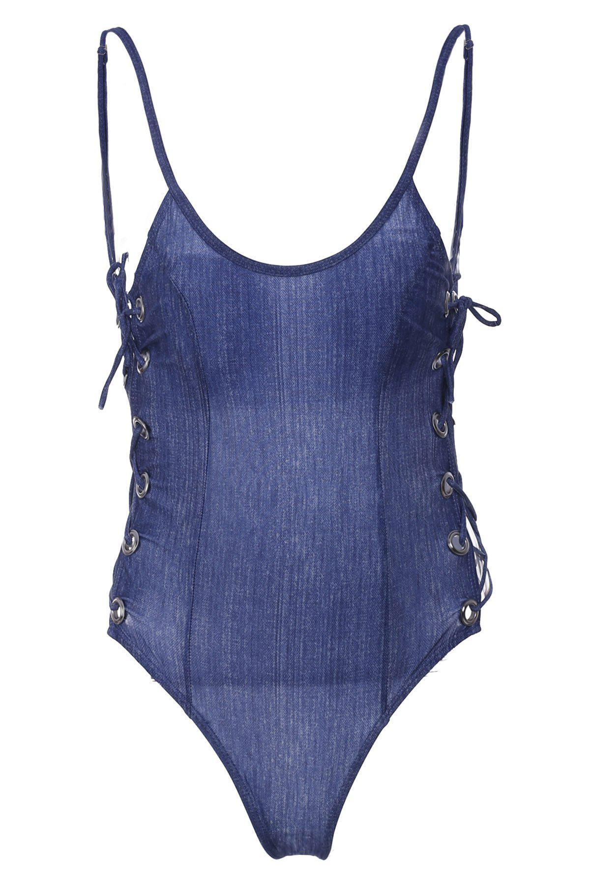 Sexy Women's Strappy Backless Solid Color One-Piece Swimwear - DEEP BLUE S