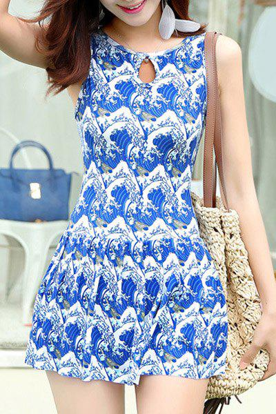 Trendy Ethnic Printed Keyhole Collar One Piece Swimwear For Women - M BLUE