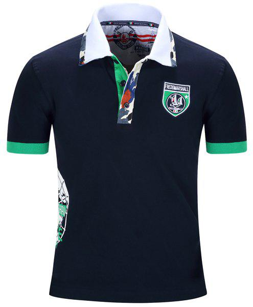 Badge Embroidered Camo Spliced Turn-Down Collar Short Sleeve Men's Polo T-Shirt - DEEP BLUE L