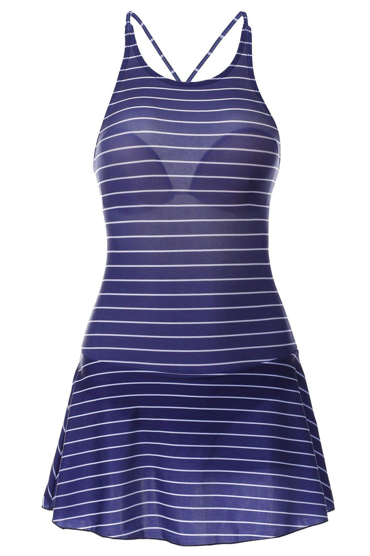 Sweet Striped Backless Flounced One-Piece Swimwear For Women - PURPLISH BLUE M
