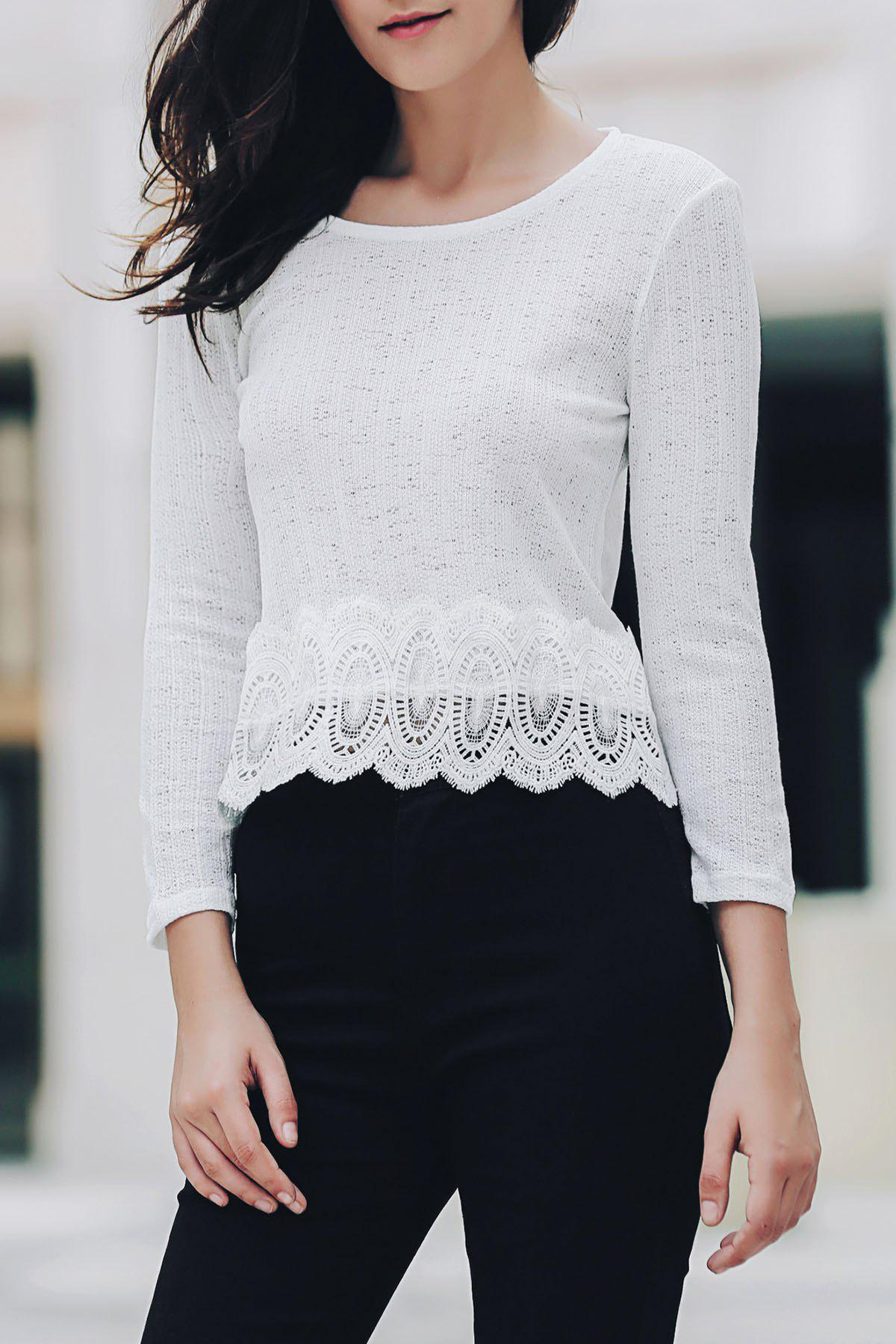 Sweet 3/4 Sleeve Scoop Neck Lace Spliced Women's Blouse - M WHITE