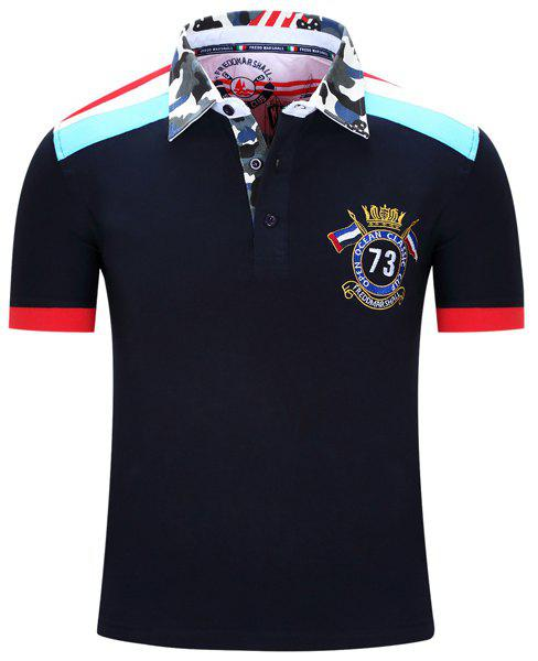 Badge Embroidered Camouflage Spliced Turn-Down Collar Short Sleeve Men's Polo T-Shirt - DEEP BLUE L
