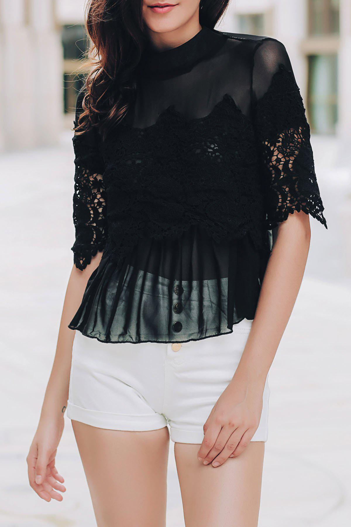 Sexy Stand Collar 3/4 Sleeve Cut Out See-Through Women's Blouse - M BLACK