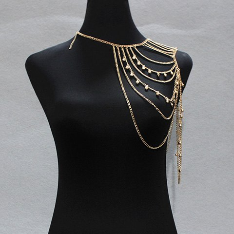 Multilayered Small Bell Tassel Body Chain - GOLDEN