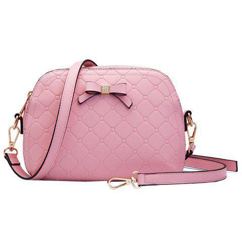 Stylish Argyle Pattern and Bow Design Women's Crossbody Bag