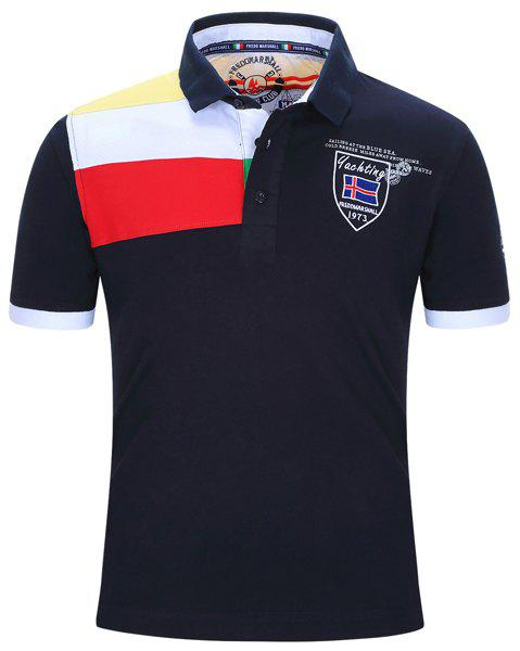 Badge Embroidered Color Block Stripe Turn-Down Collar Short Sleeve Men's Polo T-Shirt - DEEP BLUE M