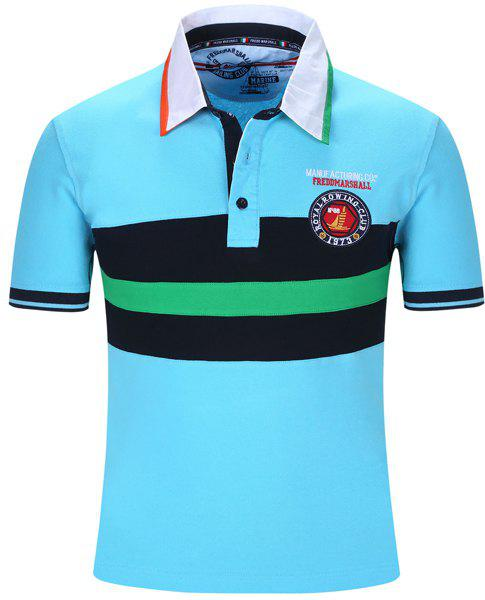 Embroidered Color Block Stripe Turn-Down Collar Short Sleeve Men's Polo T-Shirt - LIGHT BLUE XL