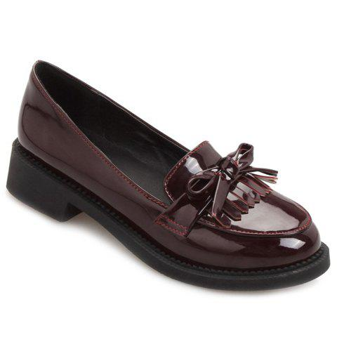 Vintage Patent Leather and Slip-On Design Women's Flat Shoes - WINE RED 38