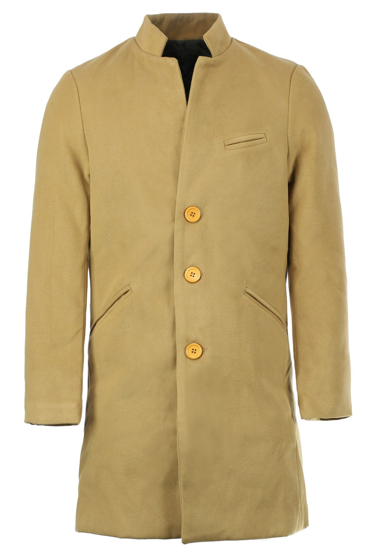 Casual Stand Collar Long Sleeve Solid Color Woolen Trench Coat For Men - KHAKI 2XL