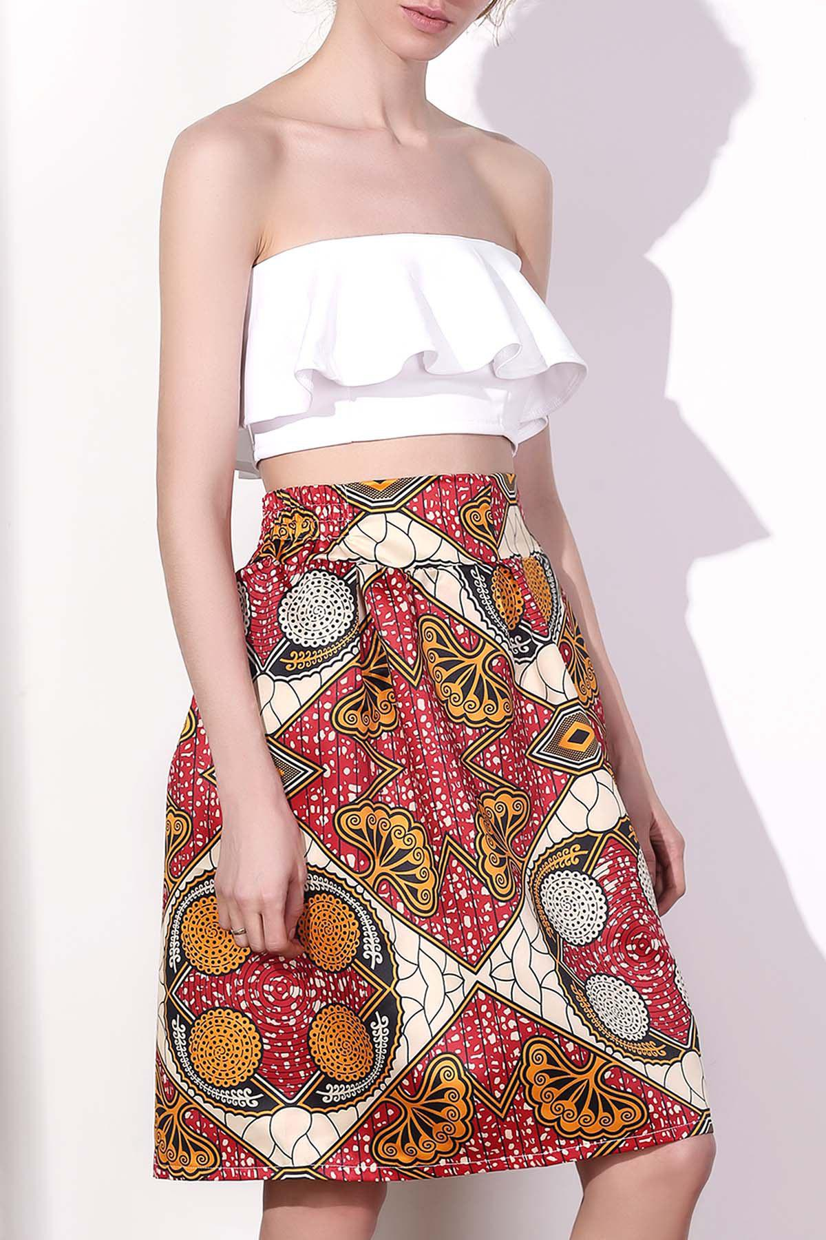 Women's Chic High Waist Color Block Geometrical Print A-Line Skirt - COLORMIX S