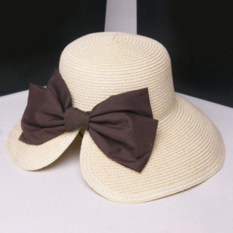 Chic Big Bow Embellished Sun-Resistant Women's Straw Hat - OFF WHITE
