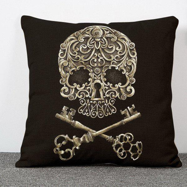 Chic Skull Key Pattern Square Shape Flax Pillowcase (Without Pillow Inner) - COLORMIX