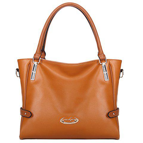 Fashionable Metal and PU Leather Design Women's Shoulder Bag - BROWN