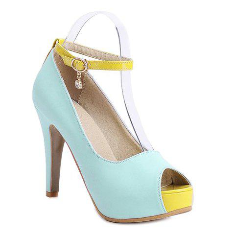 Sweet Stiletto Heel and Color Block Design Womens SandalsShoes<br><br><br>Size: 39<br>Color: LIGHT BLUE