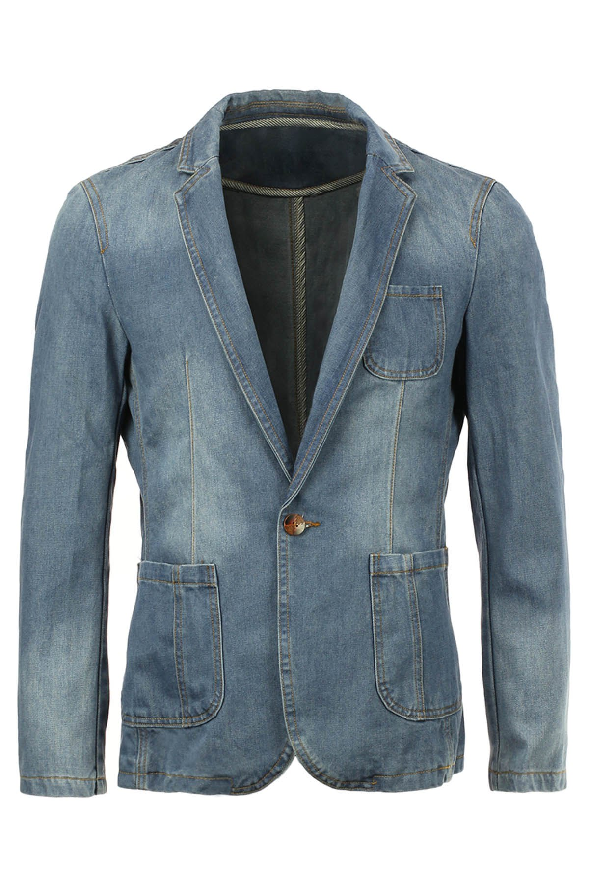 Lapel Single-Breasted Slimming Bleach Wash Pocket Long Sleeve Men's Denim Jacket - DEEP BLUE M