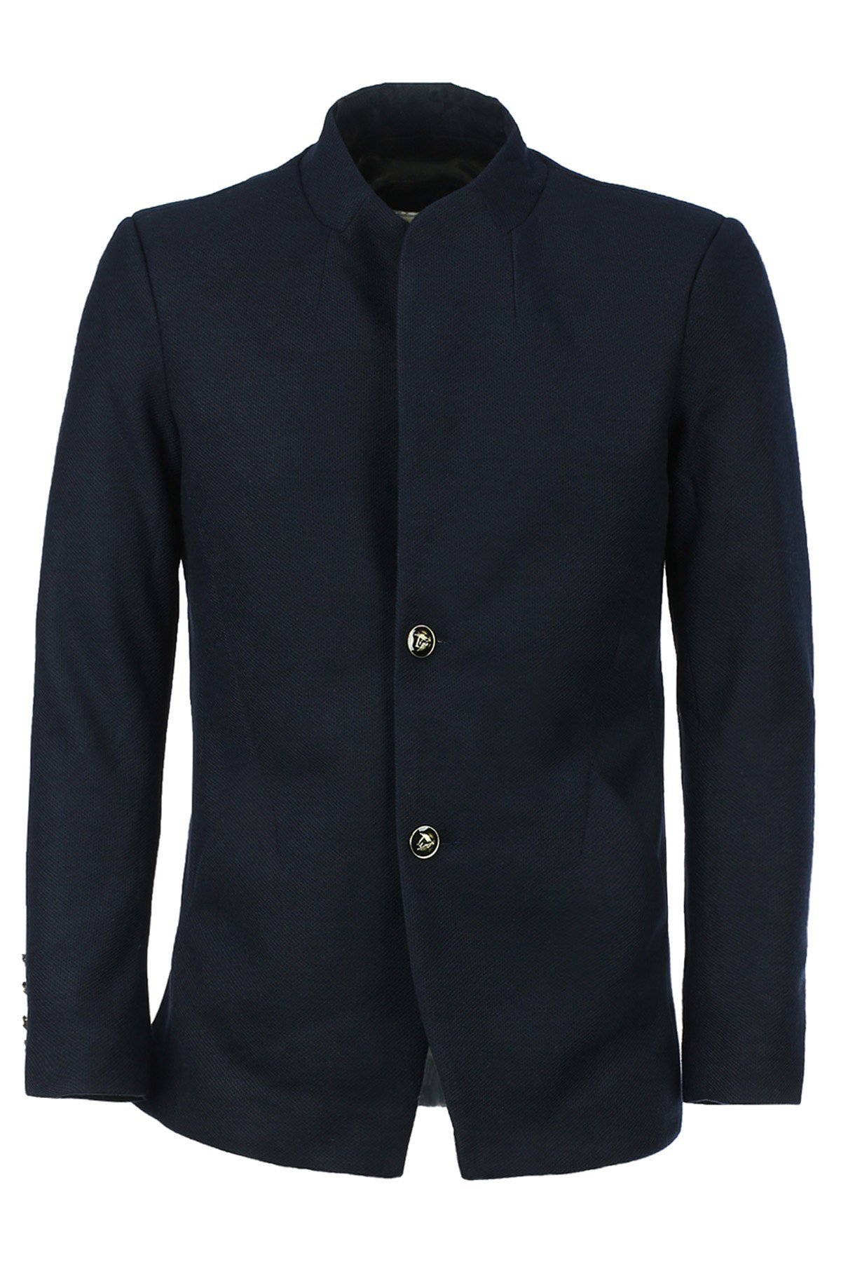 Solid Color Simple Stand Collar Single-Breasted Long Sleeve Men's Lengthen Coat - BLUE L