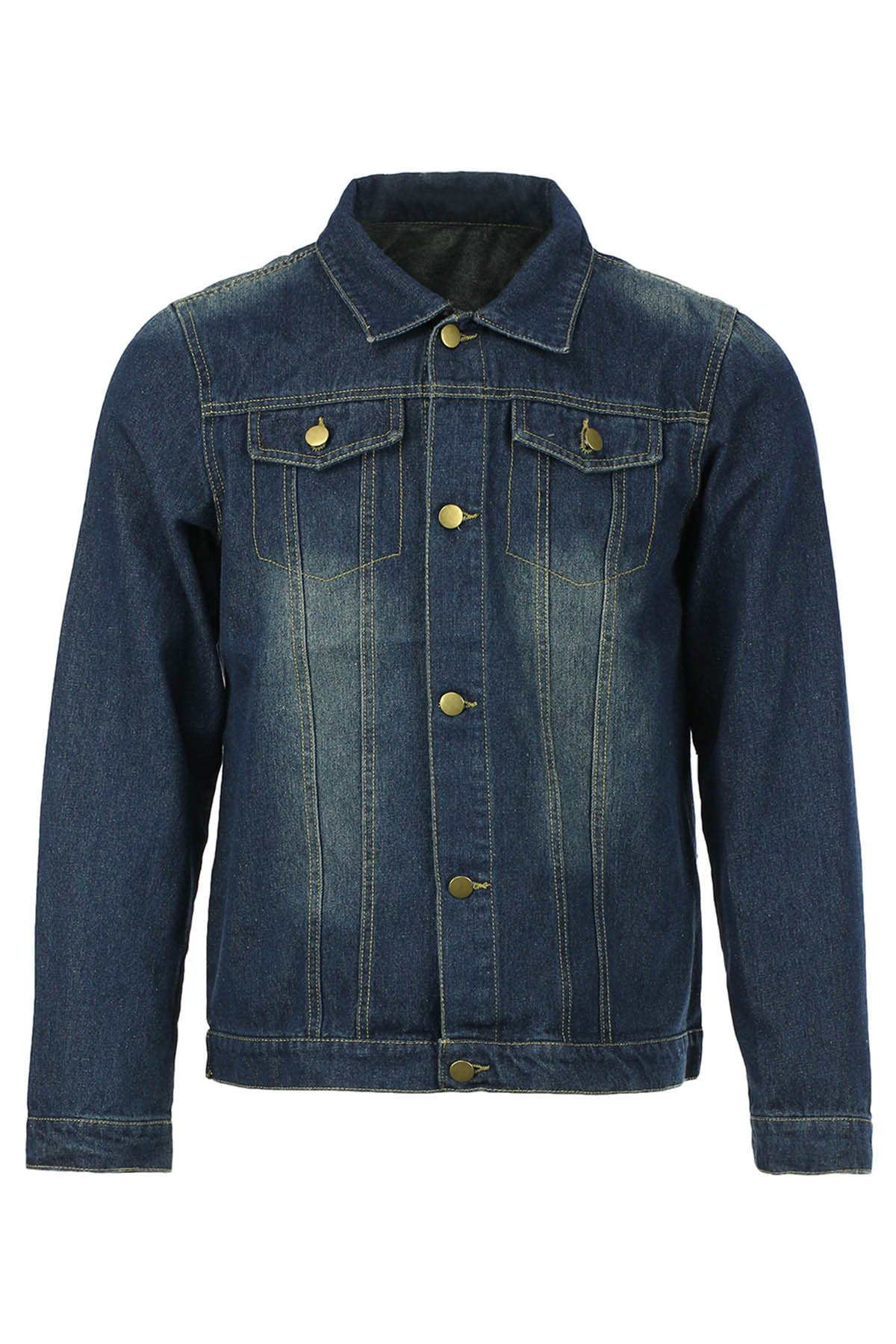 Slimming Shirt Collar Stylish Double Pockets Buttons Design Long Sleeve Men's Denim Jacket - DEEP BLUE M