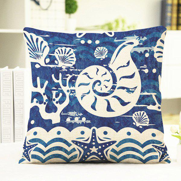 Chic Ocean Conch Shell Starfish Pattern Square Shape Flax Pillowcase (Without Pillow Inner) - BLUE/WHITE