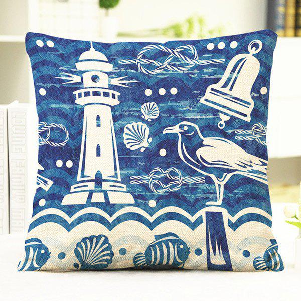 Chic Shell Lighthouse Pattern Square Shape Flax Pillowcase (Without Pillow Inner) - BLUE/WHITE