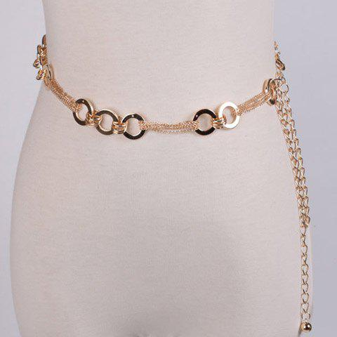 Elegant Interlink Rings Decorated Alloy Chain Waist Belt For Women - GOLDEN