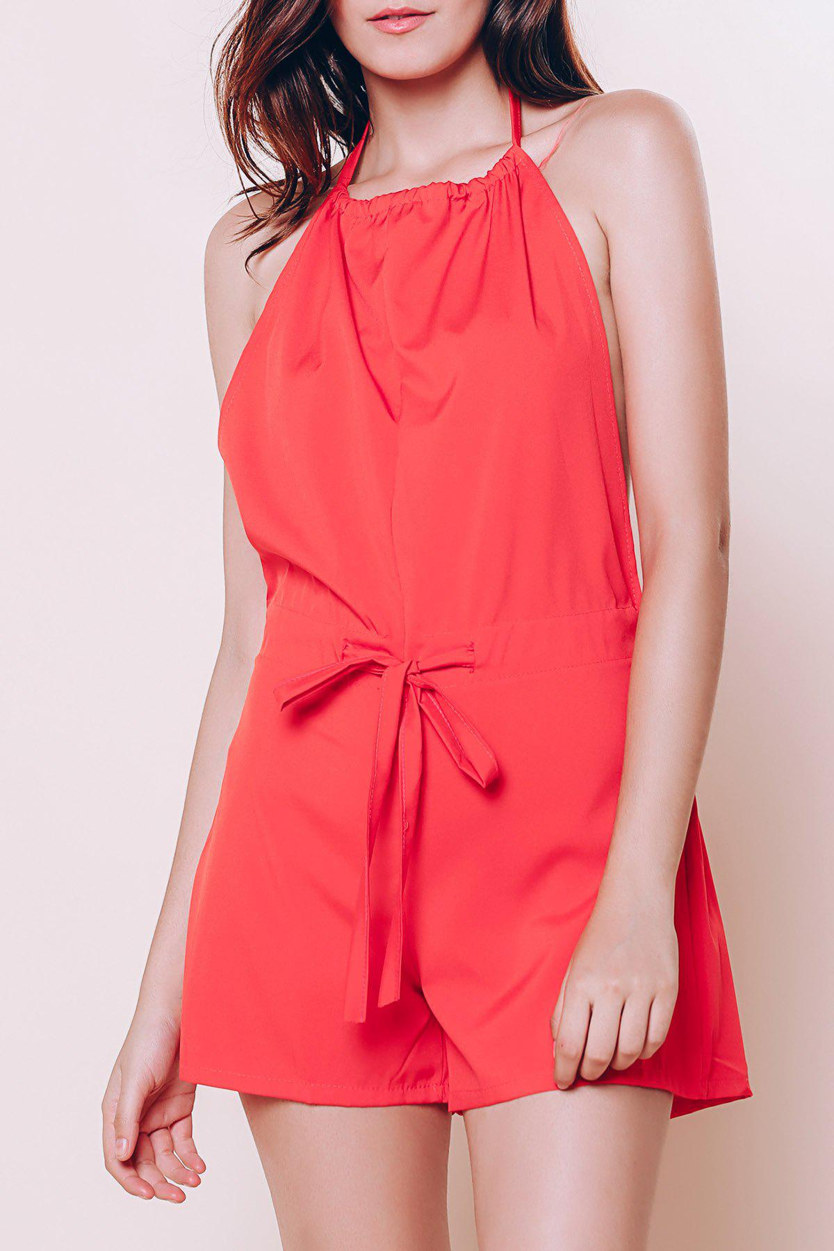 Trendy Sleeveless Backless Halter Red Romper For Women