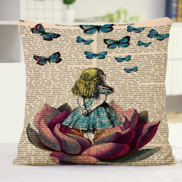 Chic Butterflies Girl Newspaper Pattern Square Shape Flax Pillowcase (Without Pillow Inner) - COLORMIX