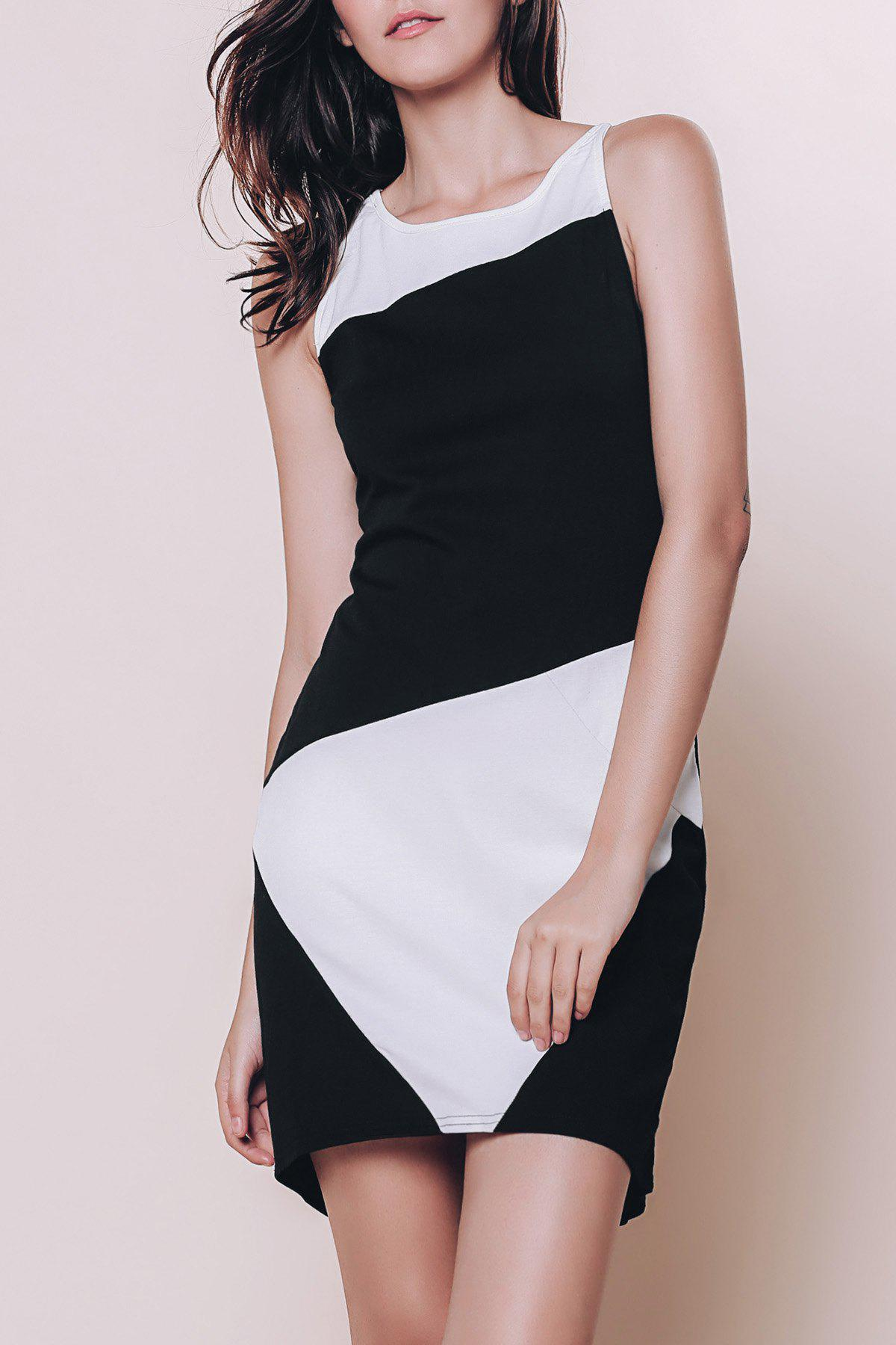 Stylish Color Block Sleeveless Bodycon Dress For Women