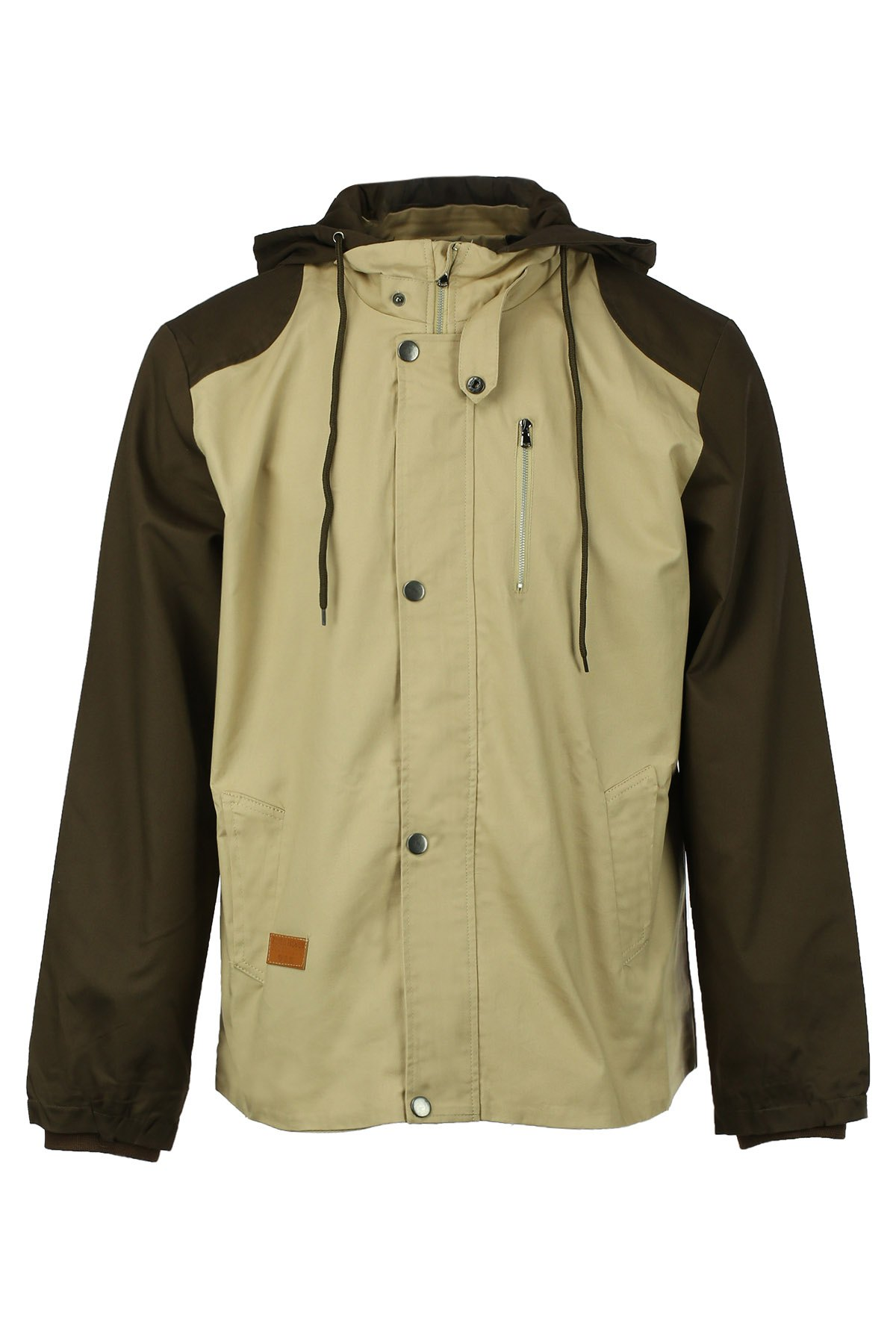 Classic Color Spliced Zipper and PU Leather Design Slimming Hooded Long Sleeves Men's Jacket - KHAKI 2XL