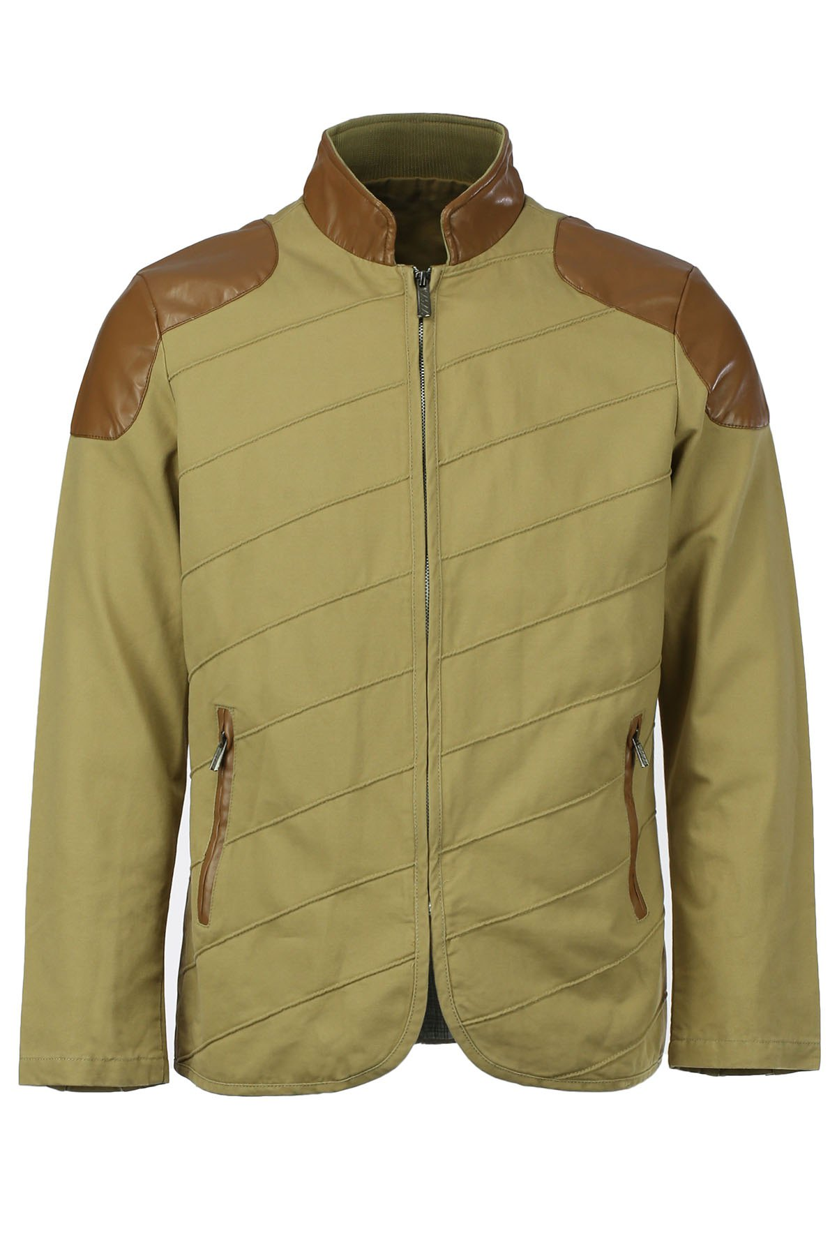 Modish Stand Collar Multi-Zipper PU Leather Spliced Color Block Men's Long Sleeves Jacket - KHAKI XL