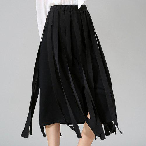 Stunning Women's Elastic Waist Solid Color Midi Skirt - BLACK ONE SIZE(FIT SIZE XS TO M)