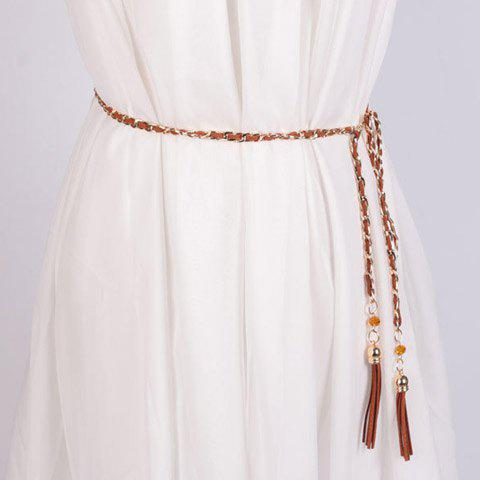 Elegant Faux Suede Tassel Alloy Chain Waist Belt For Women - BROWN
