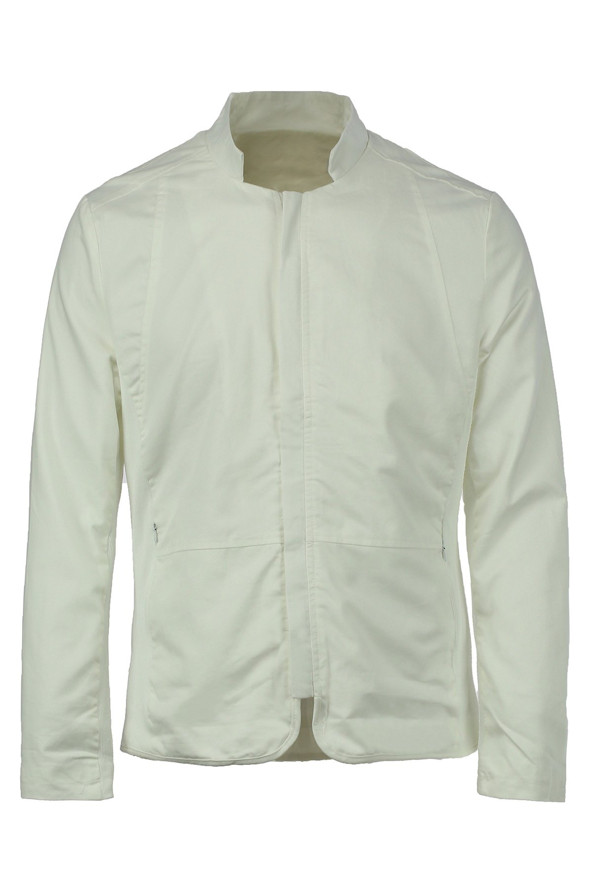 Slimming Stand Collar Zipper Pocket French Front Fabric Spliced Long Sleeves Men's Casual Jacket - WHITE XL
