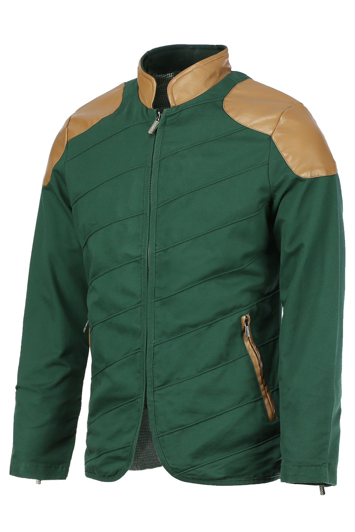 Modish Stand Collar Multi-Zipper PU Leather Spliced Color Block Men's Long Sleeves Jacket - BLACKISH GREEN L