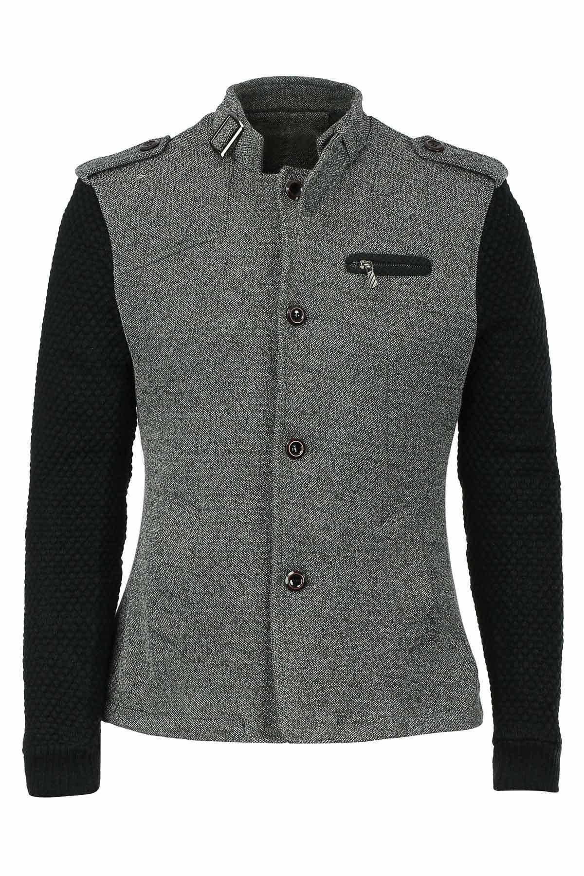 Woolen Yarn Full Sleeves Spliced Zipper and Epaulet Design Stand Collar Men's Slimming Jacket - M GRAY
