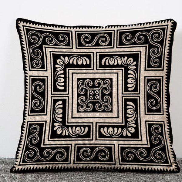 Chic Black and White Paisley Pattern Square Shape Flax Pillowcase (Without Pillow Inner)