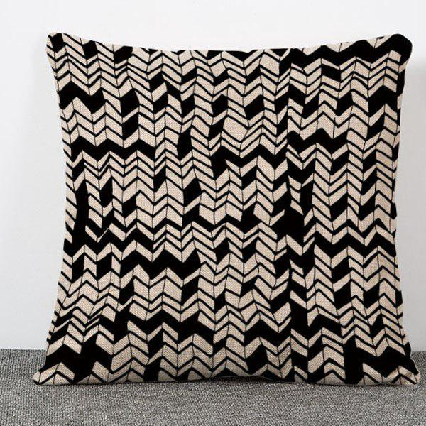 Chic Irregular Geometric Pattern Square Shape Flax Pillowcase (Without Pillow Inner) - WHITE/BLACK