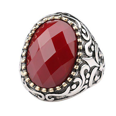 Faux Gemstone Circle Ring - RED ONE-SIZE