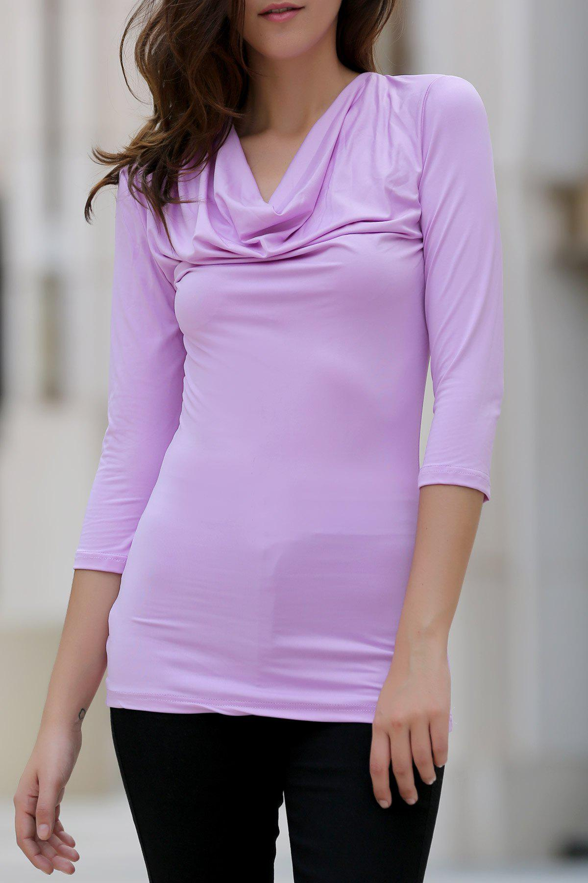 Chic Cowl Neck 3/4 Sleeve Ruffled Pure Color Women's T-Shirt - LIGHT PURPLE M