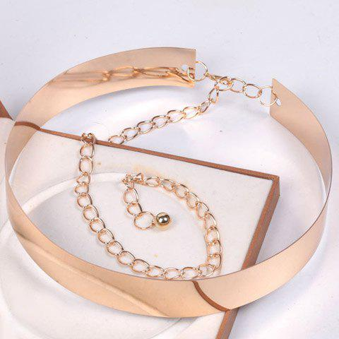 Elegant Rectangle High Polish Alloy Wide Waist Belt For Women - GOLDEN