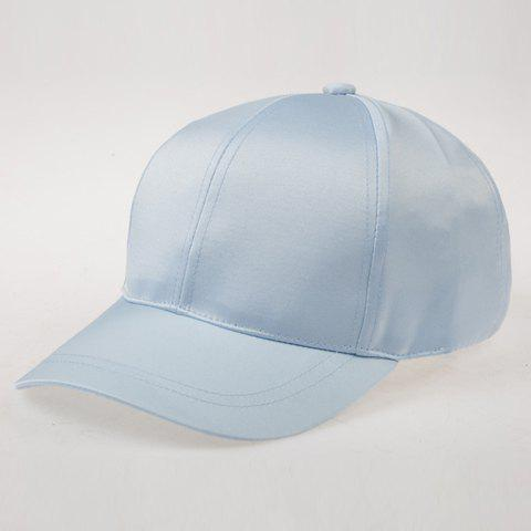 Chic Women's Solid Color Satin Baseball Cap - LIGHT BLUE